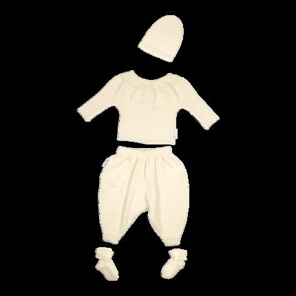 ensemble- vetement de bébé-layette-en laine merinos-ecru-brassiere-bonnet-chaussons-pantalon-naturel