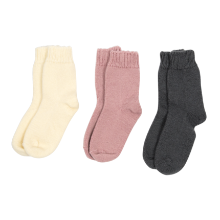 vetement de bebe-chaussettes-en-laine merinos-ecrues-roses-grises-naissance-douce-maternite