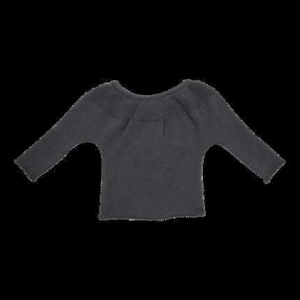 vêtement de bebe-brassiere-layette en laine-merinos-grise-douce