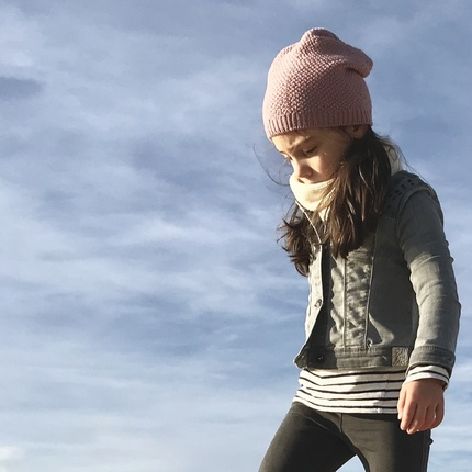 Bonnet laine fille rose