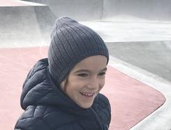 Bonnet  gris laine mérinos enfant