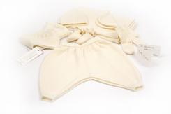 trousseau de naissance-layette-en laine merinos écrue-brassiere-bonnet-chaussons-pantalon-couverture-chaussettes-naturel-maternité